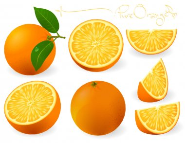 Fresh oranges with leaves and orange slices.