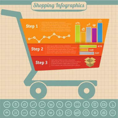 Shopping infographic design vector template