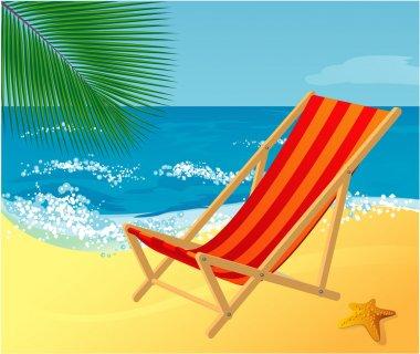 Chaise lounge on a beach.