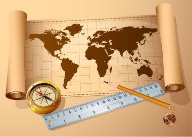 Vintage map, golden compass steel ruler