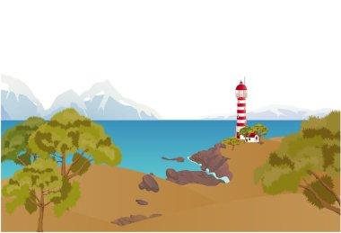 Ocean shore landscape.