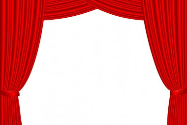 Red stage curtain isolated on white.