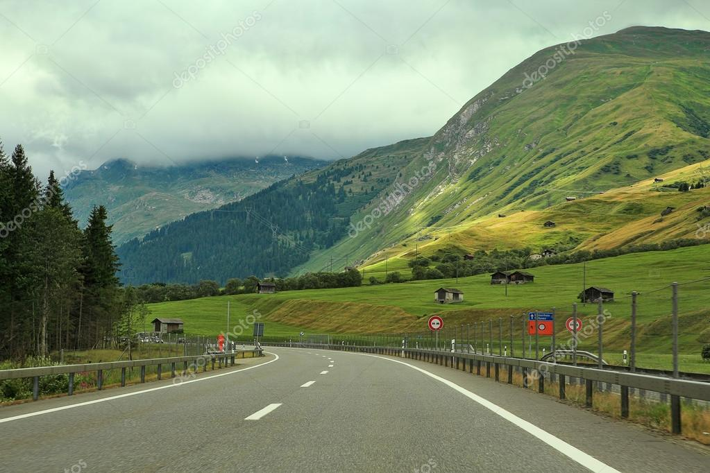 Highway among hills and mountains in Germany.