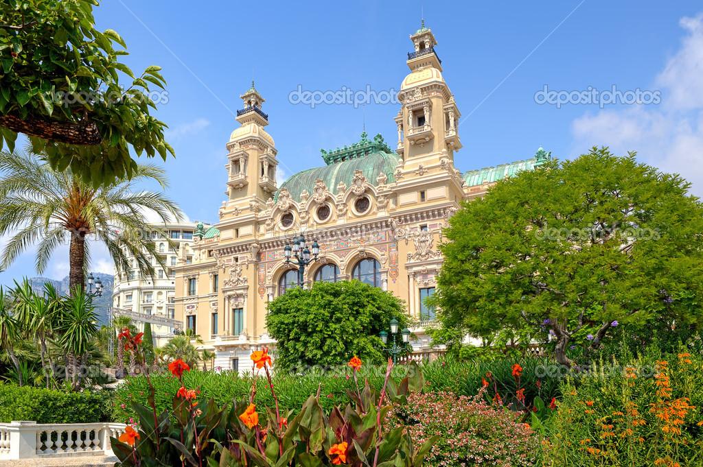Garden and facade of Casino in Monte Carlo, Monaco. – Stock ...