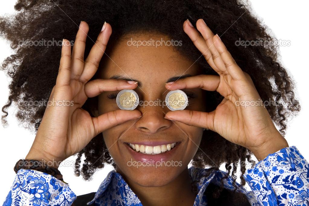 Frau Versteckt Ihre Augen Mit Euro Münzen Stockfoto Colour 22134121