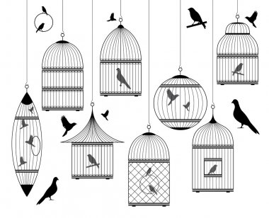 Set of ornamental vintage birdcages with birds, vector background stock vector