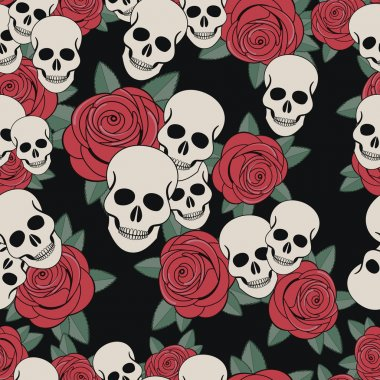 Skulls and roses, Colorful Day of the Dead card