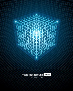 Abstract technology wire cube vector background
