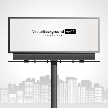 Billboard with urban horizon vector background