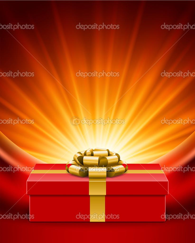 Geschenkbox mit Schleife am Vorhang und Licht. Vektor Hintergrund ...