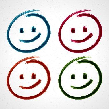 Hand drawn smile face. Vector design elements set eps 10.