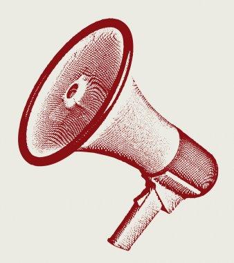 Engraving retro megaphone vectror illustration. Eps 10.