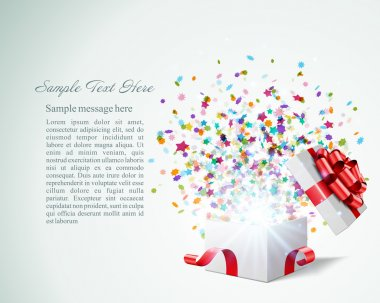 Open gift with fireworks from confetti vector background. Eps 10 clip art vector