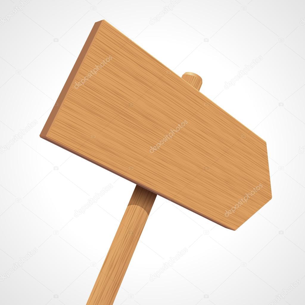 Vector wooden sign as arrow in perspective