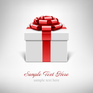White gift box with red ribbon isolated on white. Vector illustration eps 10.