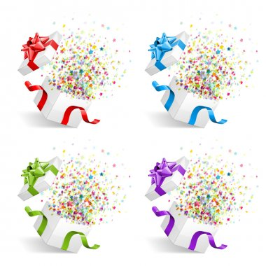 Open gift with fireworks from confetti vector design elements set. Eps 10
