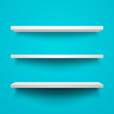 Vector shelves on blue background