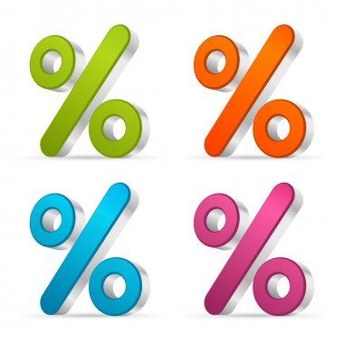 3d percent vector icon set