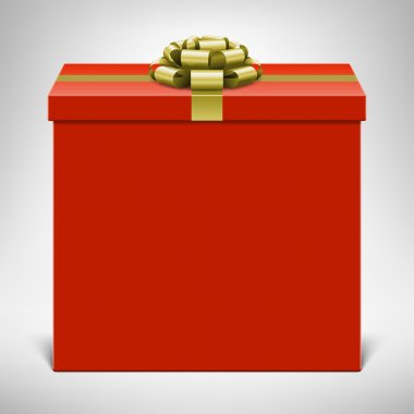 Red gift box with gold bow.