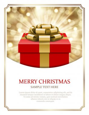 Gift box and light christmas vector background. Card or invitation. clip art vector