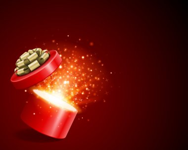 Open gift with fireworks from light vector background. clip art vector
