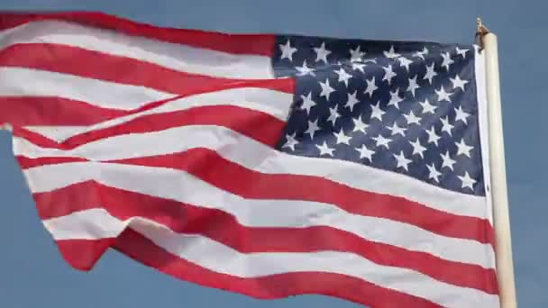 United States flag waving in wind