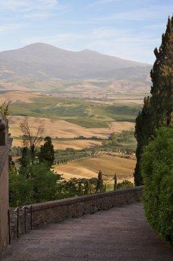 Tuscany Landscape. Suburbs of Pienza city, Ital stock vector