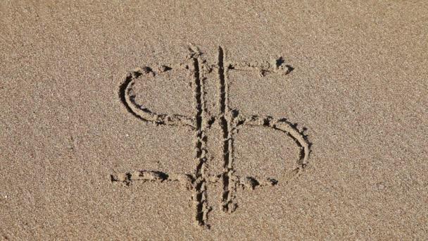 značka dolar spláchnout na pláži