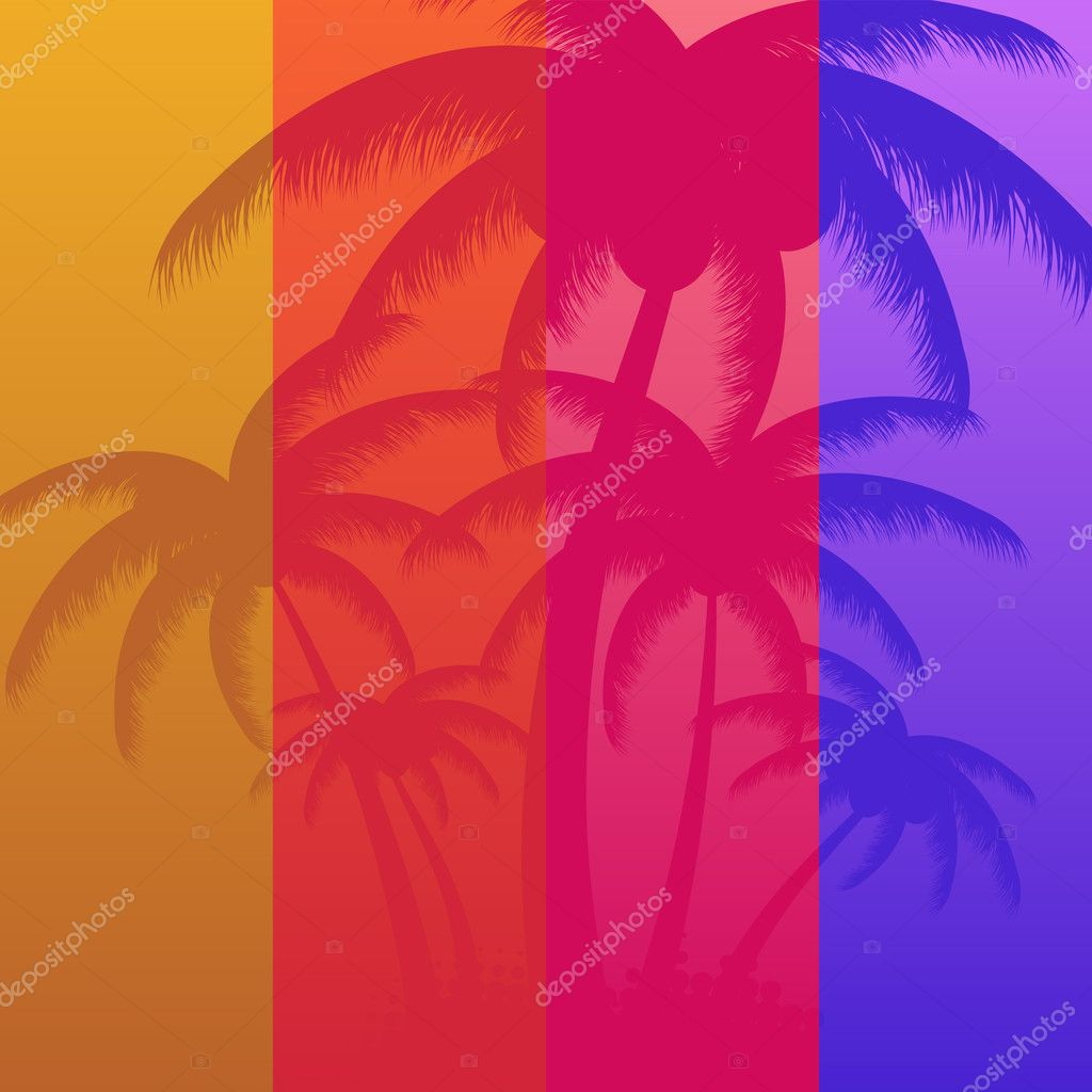 Summer background with palms