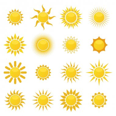 Set of sun. Vector stock vector