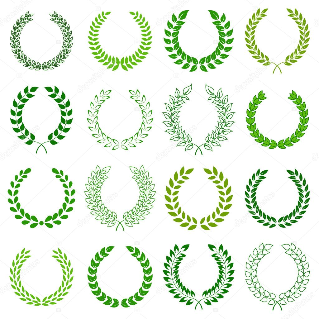 Set of green laurel wreaths for design