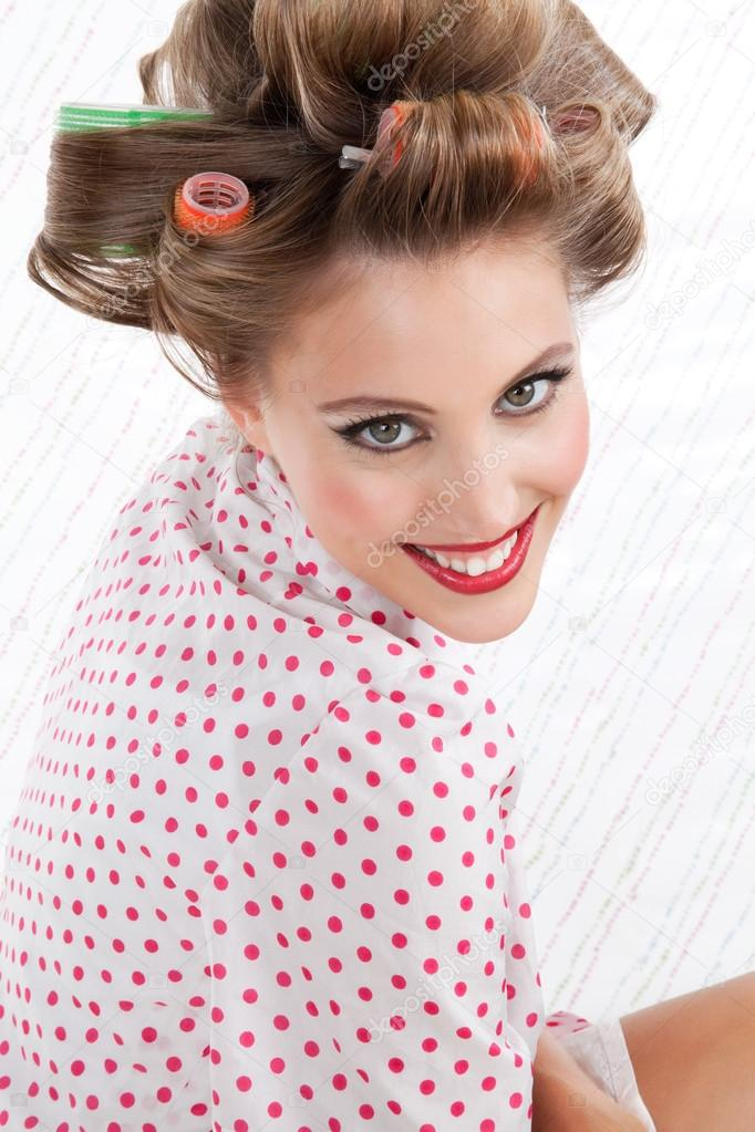 Retro Woman With Hair Rollers Stock Photo Simplefoto 12676756