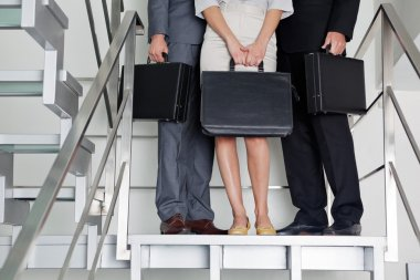 Businesspeople With Briefcases Standing On Steps
