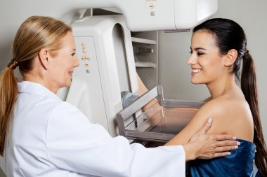 Doctor With Patient Getting Mammogram X-ray Test