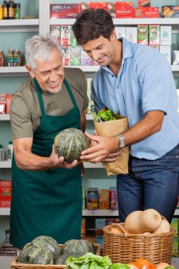 Happy senior salesman assisting male customer in shopping vegetables at supermarket stock vector