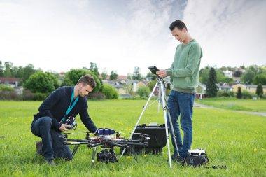 Technicians Working On UAV Spy Drone