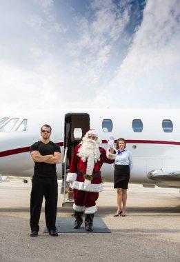 Santa with modern sleigh