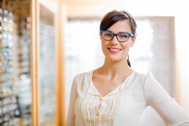 Female Customer Wearing Glasses In Store