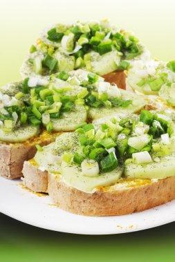 Light open faced cucumber sandwiches