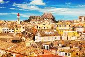 Panoramablick auf die Altstadt von Korfu, Griechenland