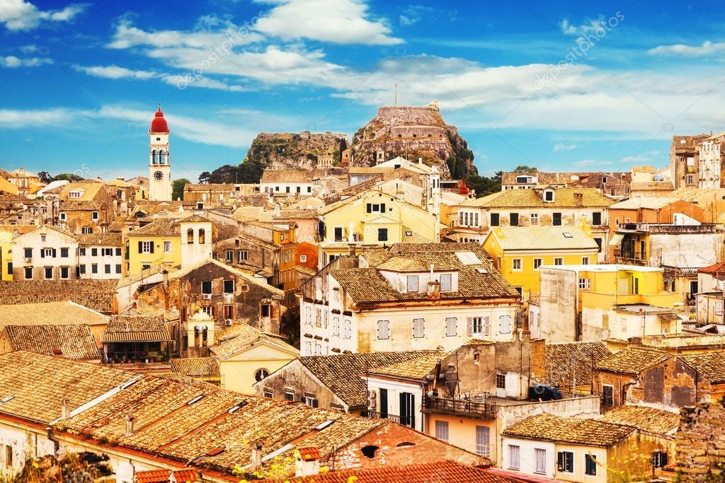 Фотообои Panoramic view of Corfu Old Town, Greece