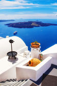 Details of Fira village, Santorini, Greece (view of the caldera in the background)