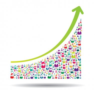 Growth chart and prgresso leading to success clip art vector