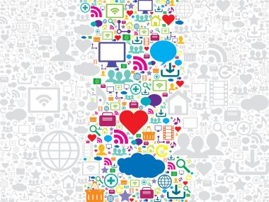 seamless pattern with social media and technology icons