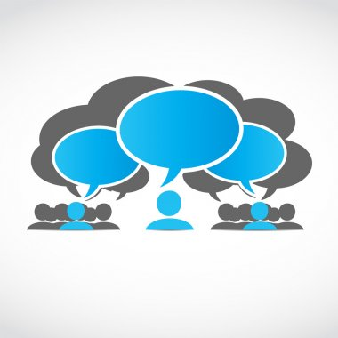 Business teams with thought bubbles