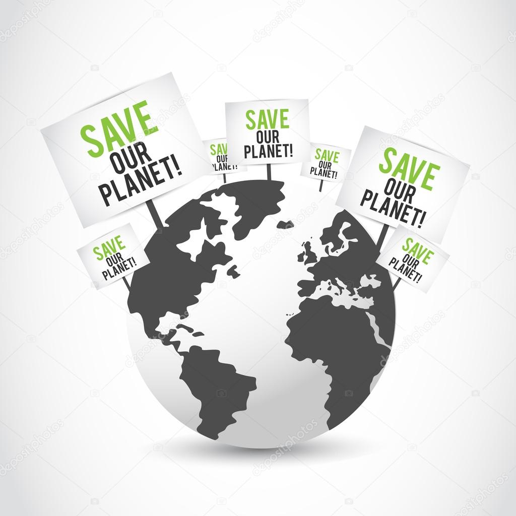 Save our planet banners on earth design