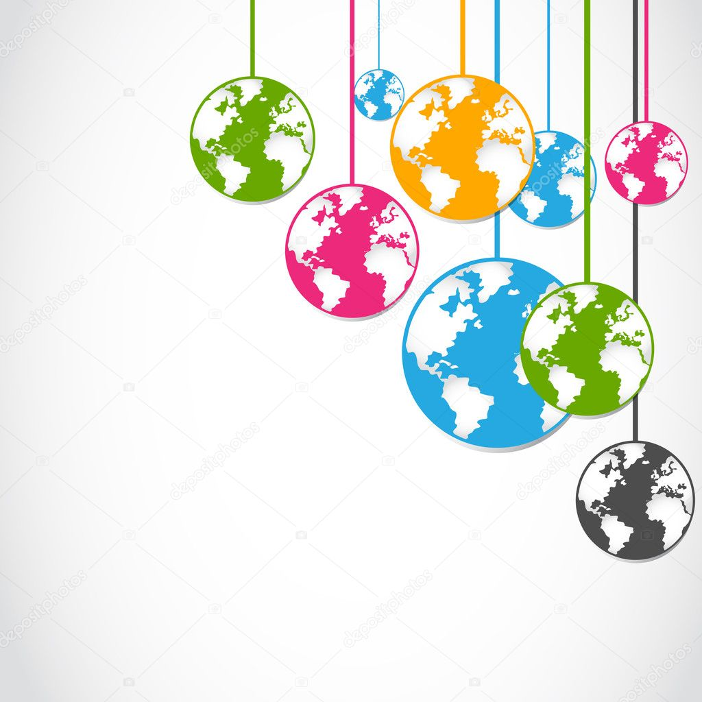 Abstract colorful globe stickers