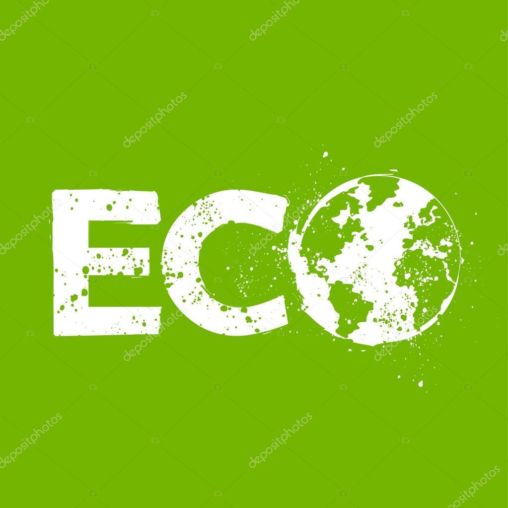 Grunge eco symbol