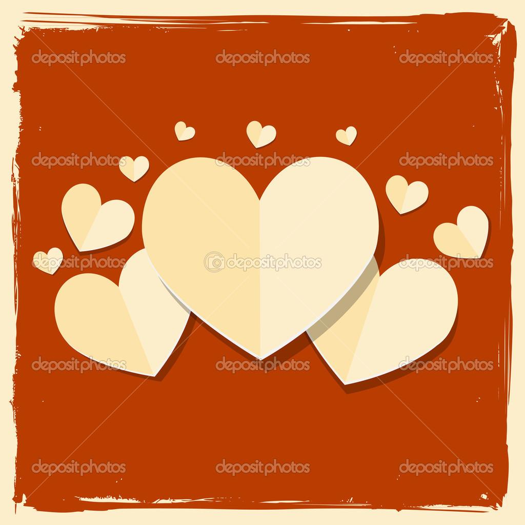 tarjeta del día de San Valentín de papel Vintage corazón — Vector de ...