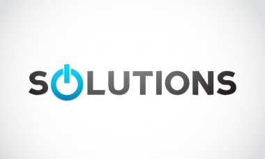 Solutions word with power icon